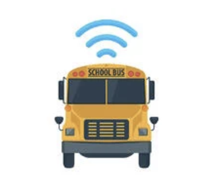 school bus with wifi icon