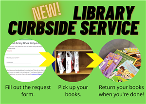 New! Library Curbside Service. Fill out the request form. Pick up your books. Return your books when you're done!